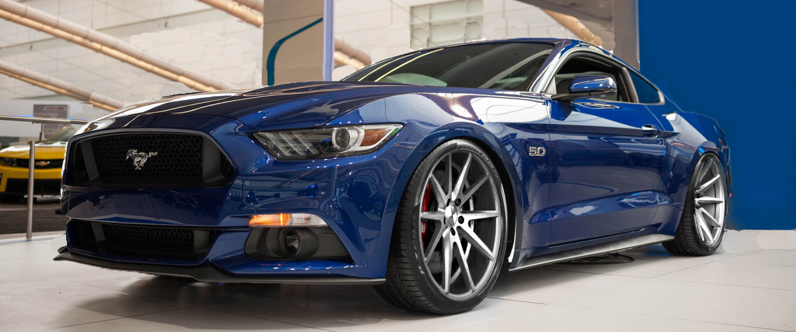 2015 Blue Ford Mustang Twin Turbo